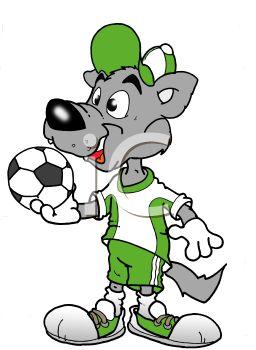 256x350 Cartoon Wolf Soccer Player Holding A Soccer Ball