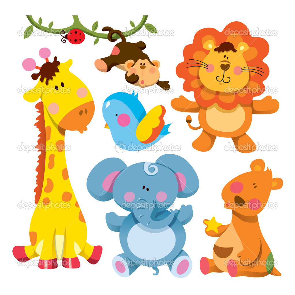 1024x1024 18 Cartoon Baby Jungle Animals Vector Images