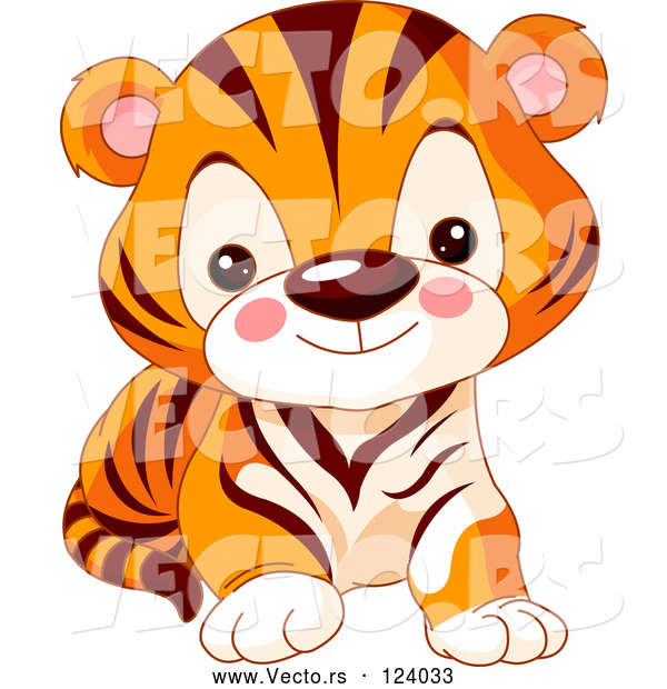 600x620 Vector Of Baby Zoo Tiger Cub By Pushkin