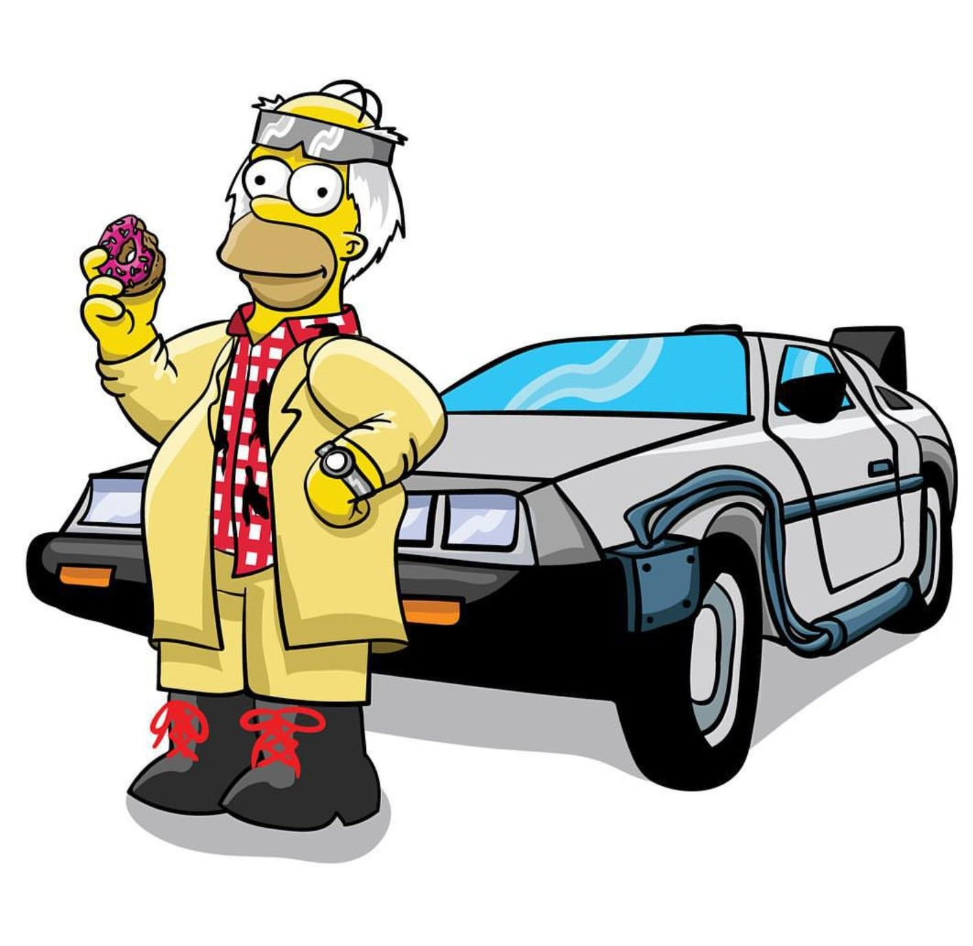 1417x1377 Homer X Back To The Future, The Simpsons Crossovers Amp Mashups