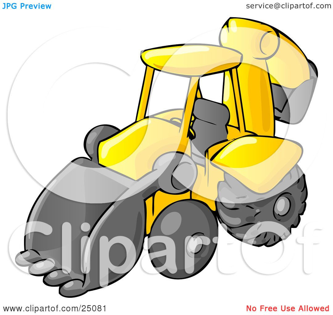 1080x1024 Clipart Illustration Of A Yellow Backhoe Heavy Machine Used