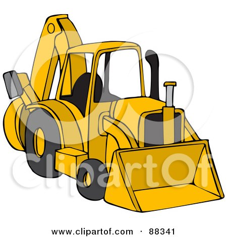 450x470 Clipart Of A Cartoon White Male Backhoe Operator Construction