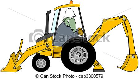 450x255 Dinosaur Backhoe Operator. This Illustration Depicts A Stock