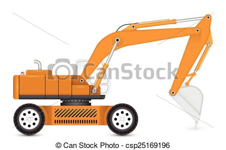 450x299 Illustration Of Backhoe With Tyre Wheel. Eps Vectors