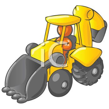 350x350 Royalty Free Clipart Image Orange Man Character Driving A Backhoe