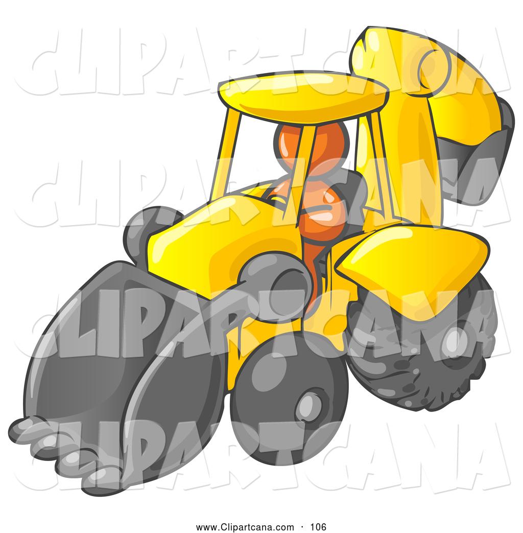 1024x1044 Vector Clip Art Of A Shiny Orange Man Operating A Yellow Backhoe