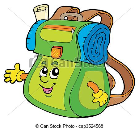 450x418 Cartoon Backpack On White Background
