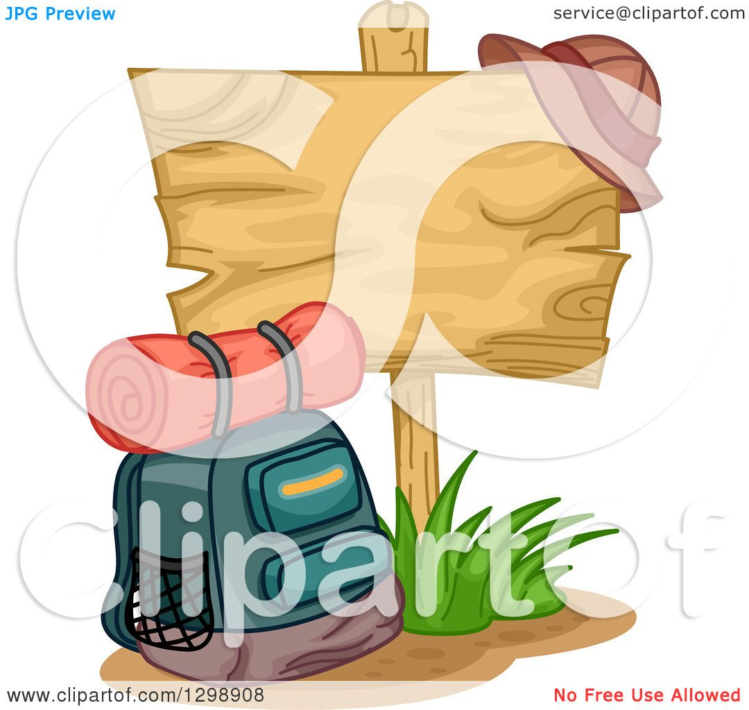 1080x1024 Clipart Of A Camping Backpack By A Blank Wooden Sign With A Hat