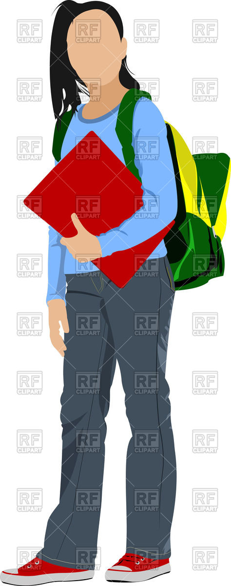 474x1200 Silhouette Of Schoolgirl With Backpack Royalty Free Vector Clip