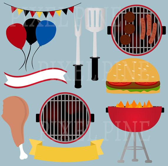 570x564 Bbq Clipart Set, Summer Barbecue Clip Art, 32 Pngs, 5 Bbq Digital