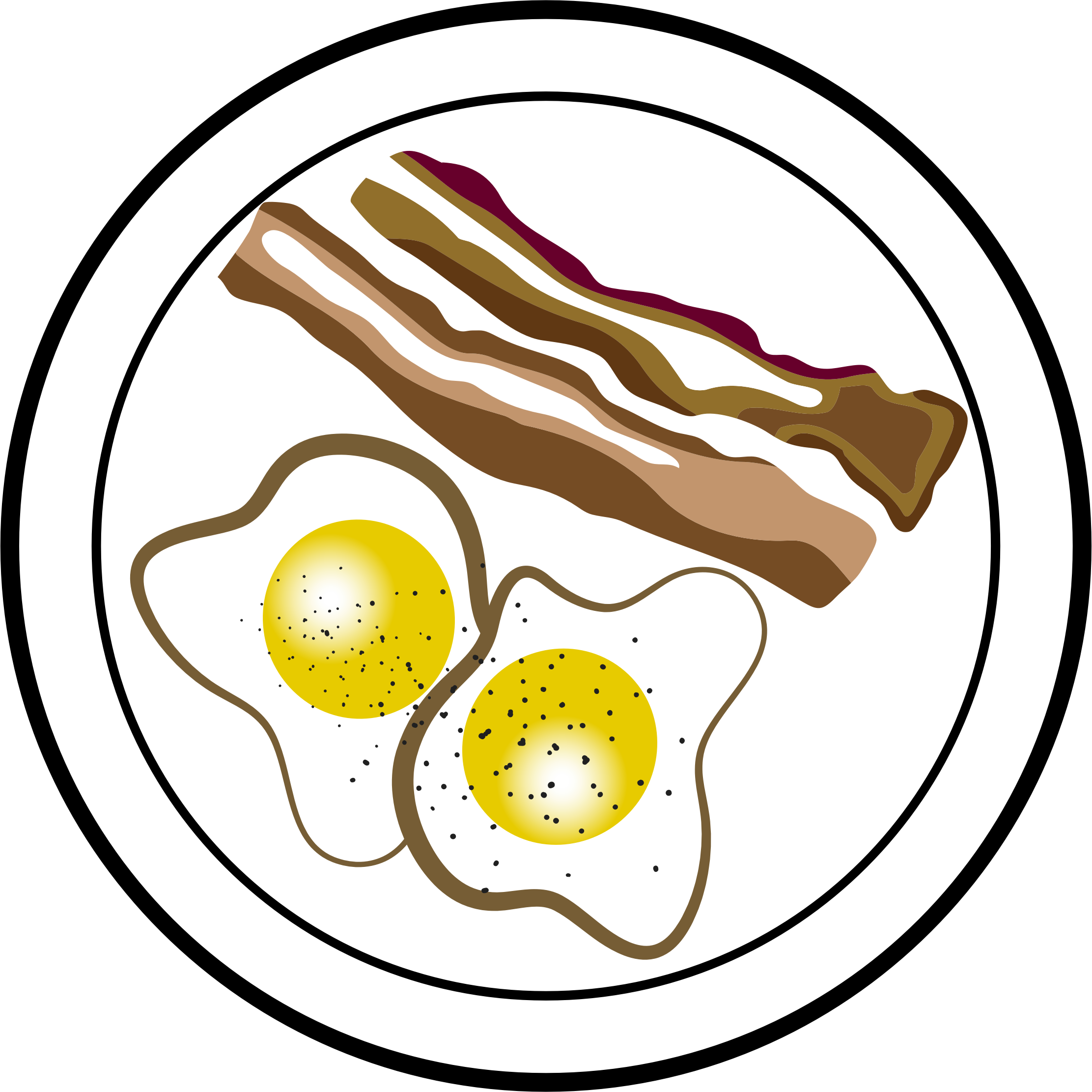 2223x2222 Bacon And Eggs Vector Clipart Image
