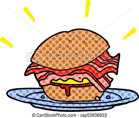 450x383 Cartoon Amazingly Tasty Bacon Breakfast Sandwich With Cheese