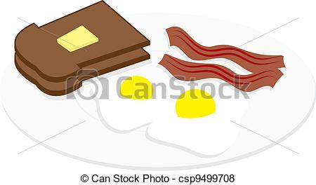 450x264 Eggs And Bacon On Plate Eggs, Bacon And Toast On A Plate Vector