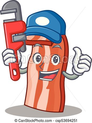 352x470 Plumber Bacon Mascot Cartoon Style Vector Illustration Clipart