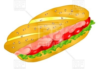 400x281 Sandwich With Bacon Royalty Free Vector Clip Art Image