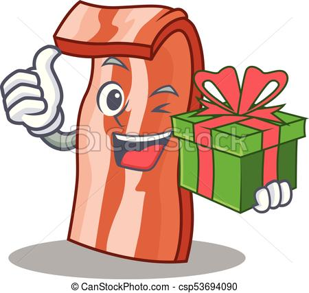 450x427 With Gift Bacon Mascot Cartoon Style Vector Illustration Eps