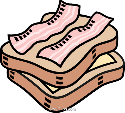 480x433 Cheese And Bacon Sandwich Royalty Free Vector Clip Art
