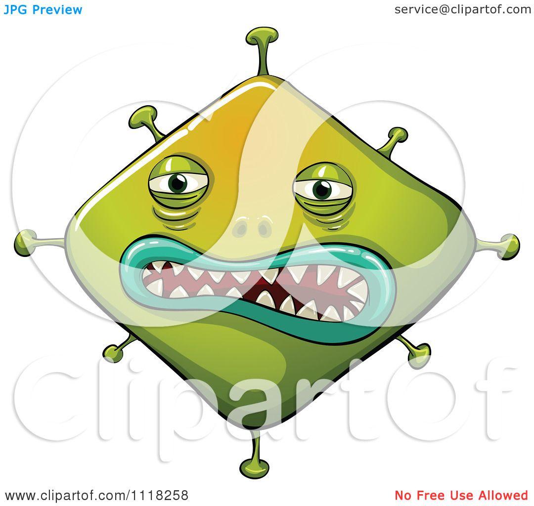 1080x1024 Cartoon Of An Evil Green Germ Virus Bacteria 2