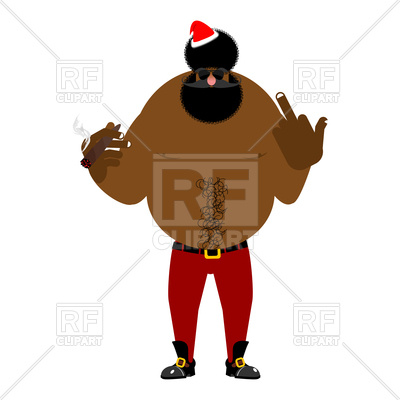 400x400 Bad Black Santa With Cigar, Angry African Claus Royalty Free