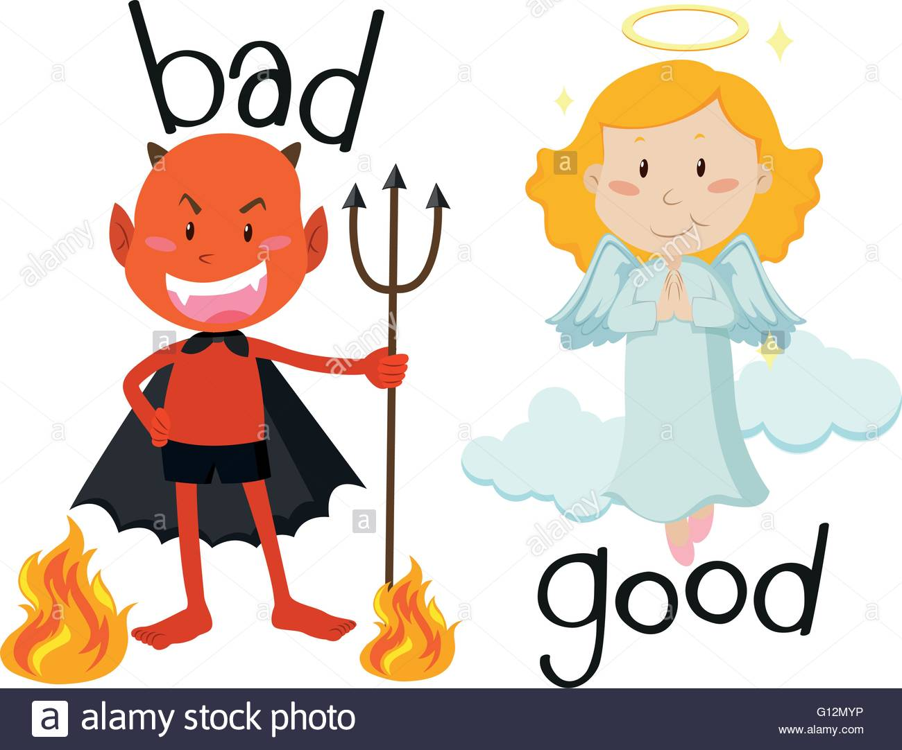 1300x1082 Opposite Adjectives Good And Bad Illustration Stock Vector Art