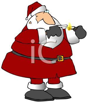 300x350 Royalty Free Clip Art Image Bad Santa Claus Lighting A Cigarette