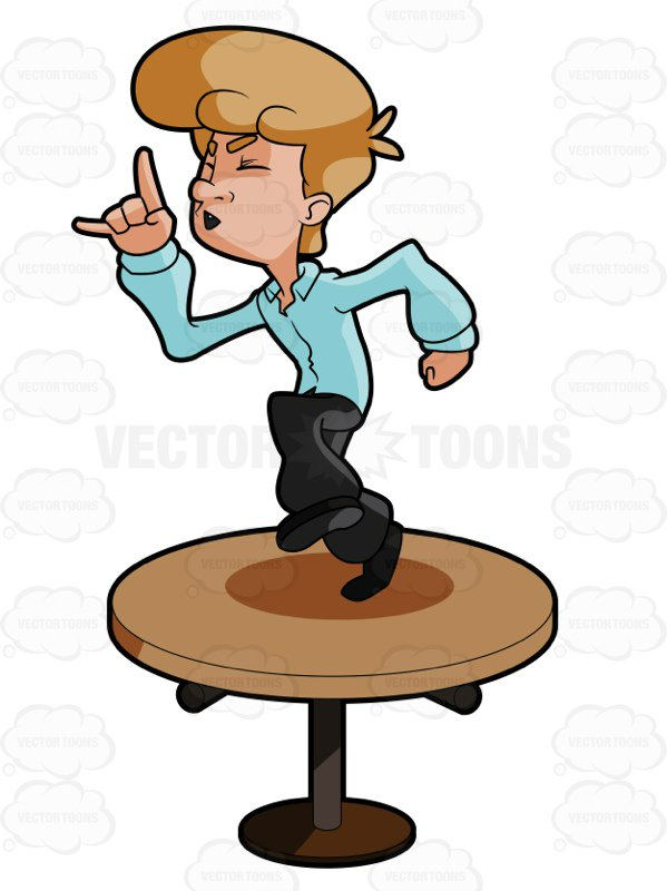 599x800 Man Dancing On A Table Top Cartoon Clipart Vector Toons