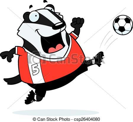 450x411 Cartoon Badger Soccer Kick. A Cartoon Illustration Of A Vector