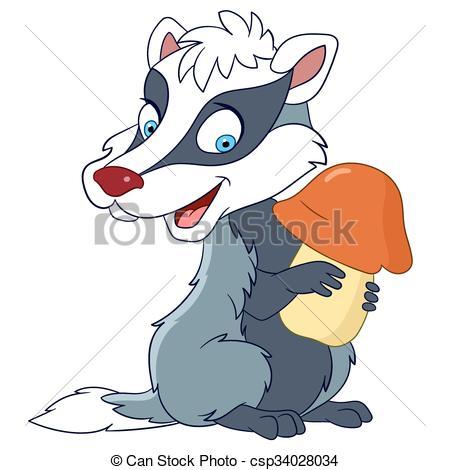 450x470 Cute Happy Badger Is Holding A Mushroom Vectors