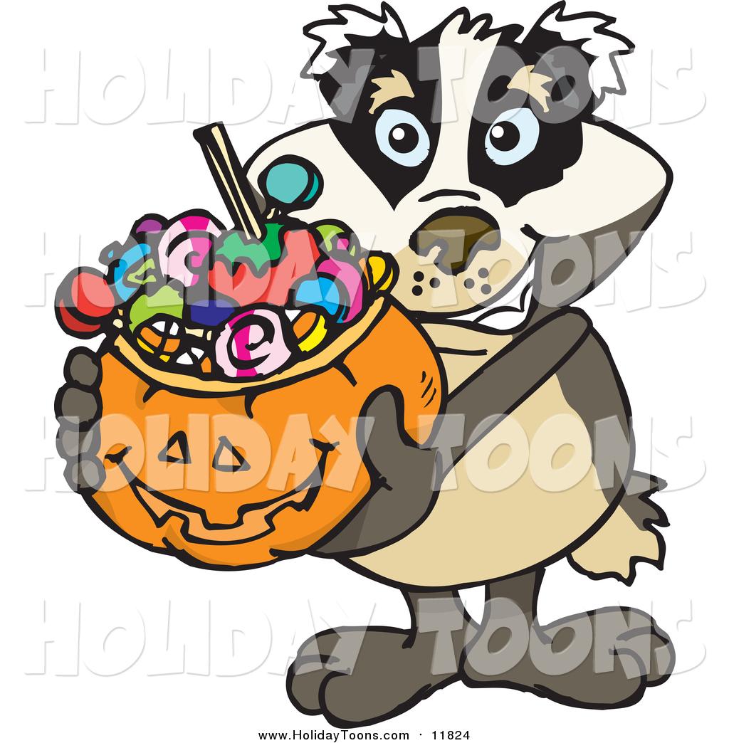 1024x1044 Royalty Free Holiday Cartoon Of A Badger Holding A Pumpkin Basket