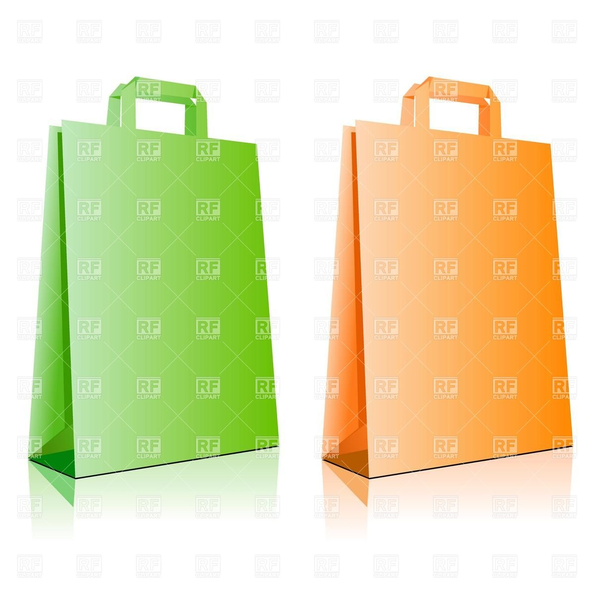 1200x1200 Green And Orange Paper Shopping Bag Royalty Free Vector Clip Art