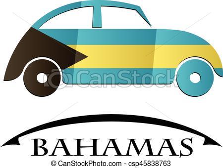 450x340 Bahamas, Bil, Flagga, Gjord, Ikon Clipart Vektor