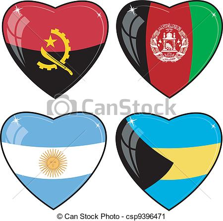 450x446 Set Of Vector Images Of Hearts With The Flags Of Vector Clip