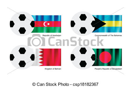 450x301 Soccer Ball With Azerbaijan, Bahamas, Bahrain And Bangladesh