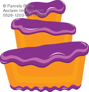 290x300 Clip Art Illustration Of A Bakery Cake With Fluffy Purple Frosting
