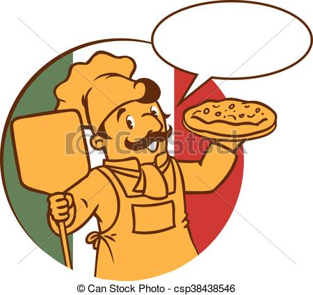 450x424 Emblem Of Funny Cook Or Chef O Baker With Pizza. Emblem Of Eps