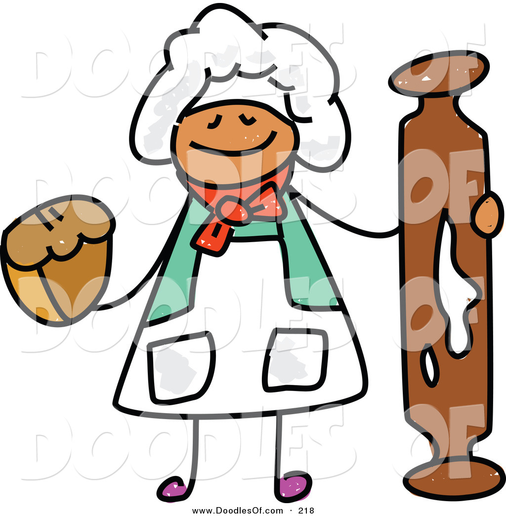 1024x1044 Vector Clipart Of A Childs Sketch Of A Happy Baker With A Rolling
