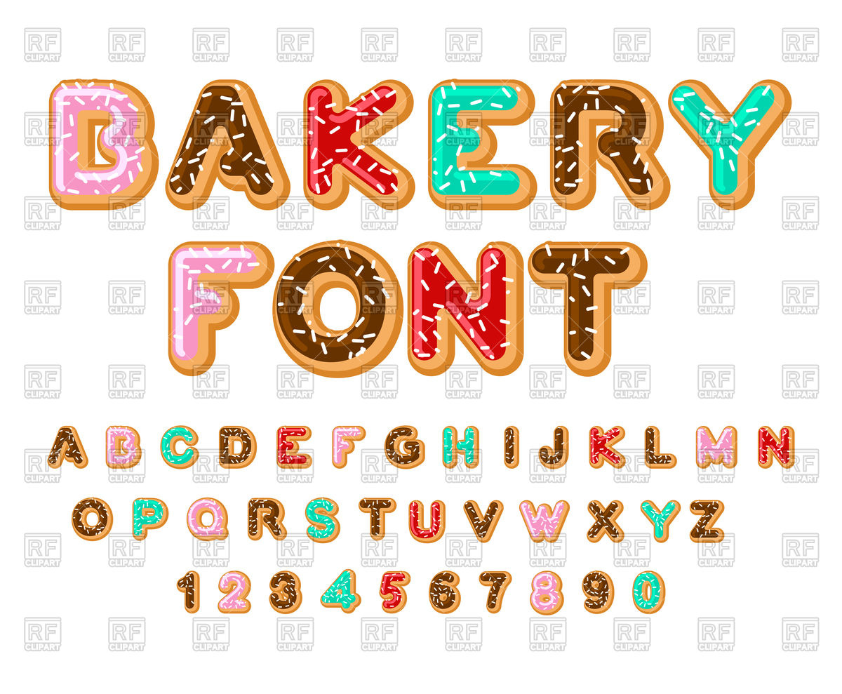 1200x989 Bakery Font Royalty Free Vector Clip Art Image