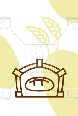 269x400 Bakery Template Design, Poster. Bread In Oven And Wheat Ears
