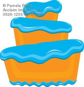 290x300 Clip Art Illustration Of A Bakery Cake With Fluffy Blue Frosting