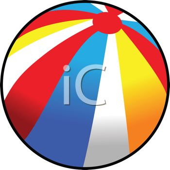 350x350 Picture Of A Colorful Beach Ball In A Vector Clip Art Illustration