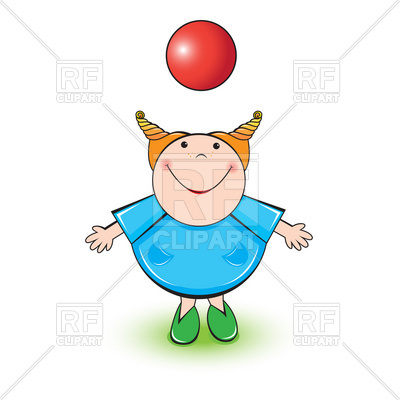 400x400 Little Girl Playing With A Red Ball Royalty Free Vector Clip Art