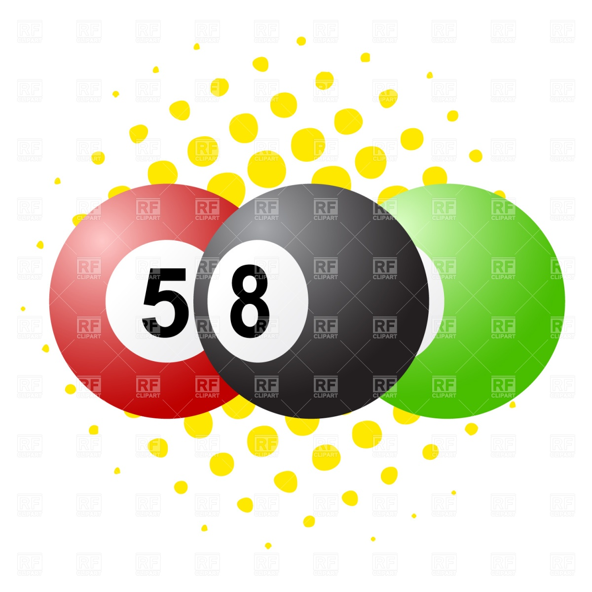 1200x1200 Snooker (Pool) Balls Royalty Free Vector Clip Art Image