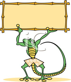 301x350 Cartoon Gecko Holding Up A Bamboo Sign