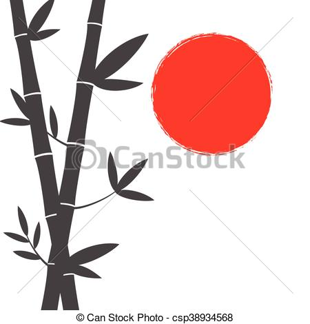 450x470 Japanese Style Bamboo And Sun Background Clip Art Vector
