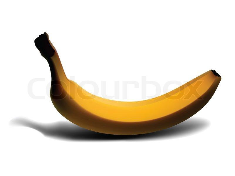 800x600 Banana Isolated On White, Illustration Clip Art Stock Photo