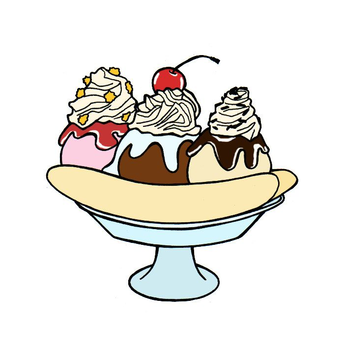 696x718 Draw A Banana Split Ice Cream Illustration, Drawings And Zentangles