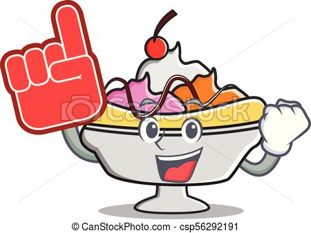 450x338 Foam Finger Banana Split Mascot Cartoon Vector Illustration Eps