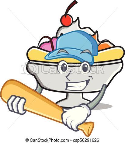 411x470 Playing Baseball Banana Split Character Cartoon Vector Illustration.