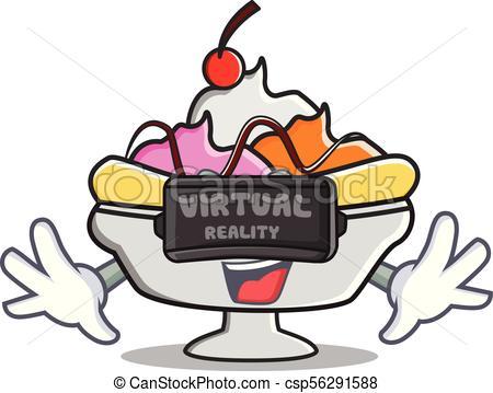 450x359 Virtual Reality Banana Split Mascot Cartoon Vector Vector