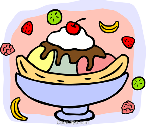 480x418 Banana Split Topped With Cherry Royalty Free Vector Clip Art